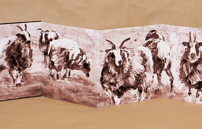 36 x 6 handmade book using oil monotypes, 2010.