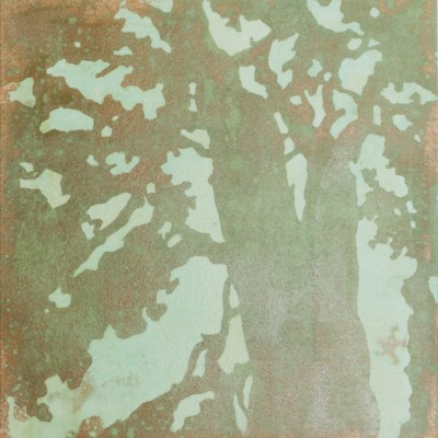 """12 x 12"""" monotype with patina and copper leaf on paper, 2014."""