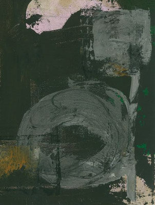 """10"""" x12"""" Monotype - cummulative  ink, acrylic on canvas, stretched"""