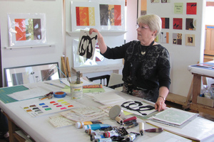Bonnie Mineo in her studio at Fort Point Arts.