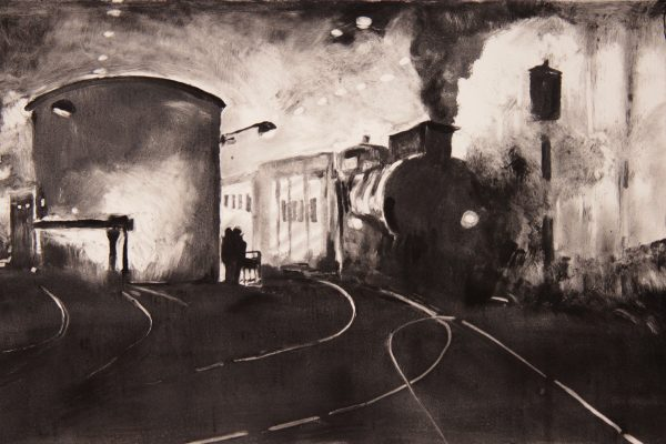 "Masha Schweitzer, ""Steam and Smoke,"" 2016. Monotype. 12x18."