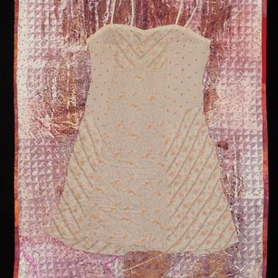 35 x 53 Quilt: silkscreen, breakdown printing, found objects, 2014
