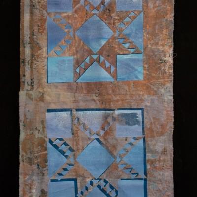 14 x 30 Breakdown printed cotton muslin overprinted with silkscreen ink, 2014