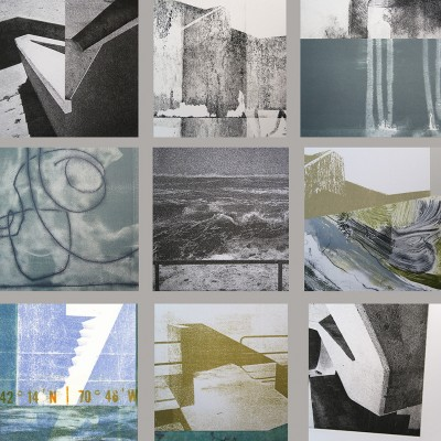 60 x 84 Monotypes, monoprints, etchings cut and collaged hung from Asian paper scrolls, 2013.