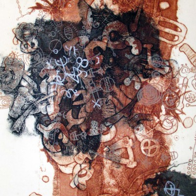 14.5 x 21 Collagraph and polyester plate lithography, 2014.