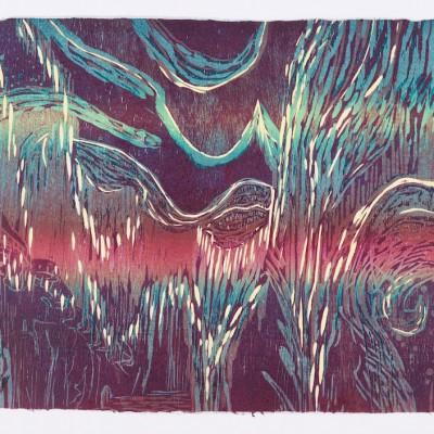 36 x 24 color reduction woodcut monoprint, 2012
