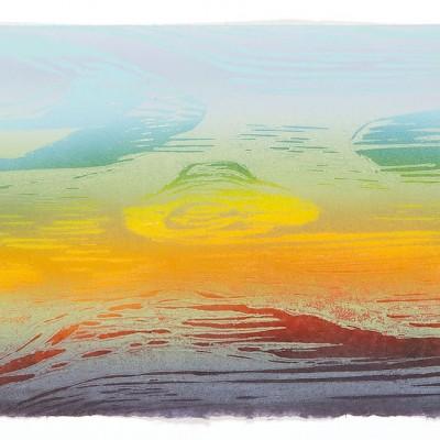 17 x 10.5 color reduction woodcut monoprint, 2014