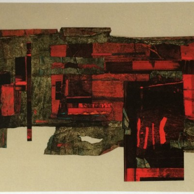 """14 1/2"""" x 8 1/2"""" collage, 2015."""