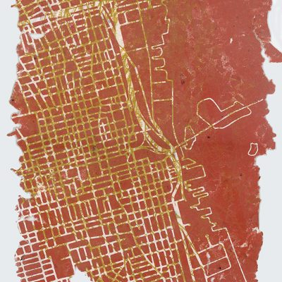 11 x 15 woodblock monoprint on handmade paper, 2016