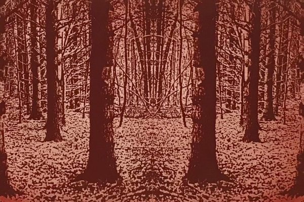 "Maryellen Sakura, ""The Forest Through The Trees,"" 2017. Monoprint. 24x12."