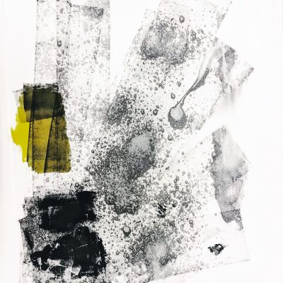 Abstract Black print consisting of black texted lines, with a splash of yellow.