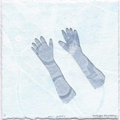 5 x 5 Monotype, vellum, pinhole drawing, 2017