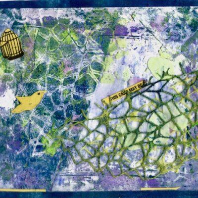 5 x 7 Collaged Monoprint, 2020
